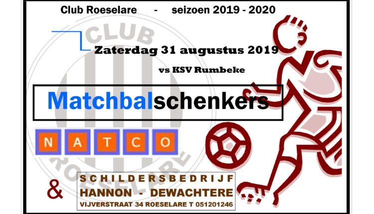 Wedstrijdbal schenkers Club Roeselare – KSV Rumbeke.