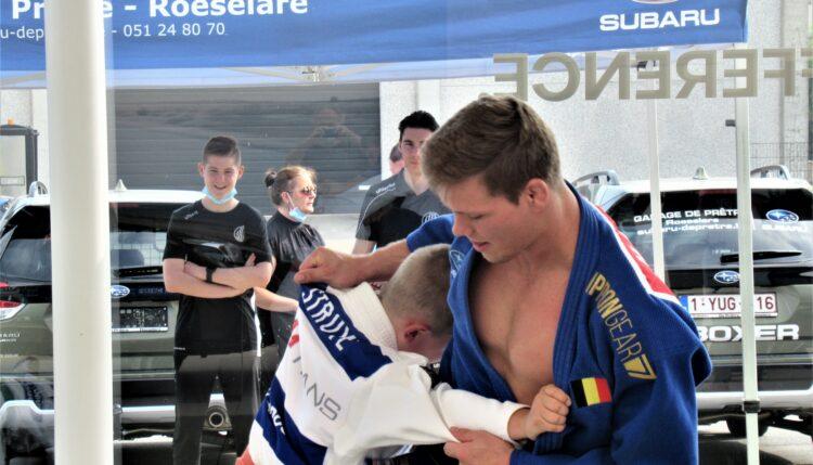 Wereldkampioen en Olympisch brons judoka Matthias Casse op bezoek bij sponsor Johan De Prêtre (Subaru)